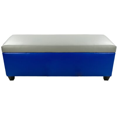 Sole Secret Retro Shoe Storage Bench Lid Upholstery Color: Light Gray, Base Upholstery Color: Blue