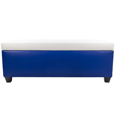 Sole Secret Retro Shoe Storage Bench Lid Upholstery Color: White, Base Upholstery Color: Blue