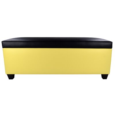 Sole Secret Retro Shoe Storage Bench Lid Upholstery Color: Black, Base Upholstery Color: Yellow