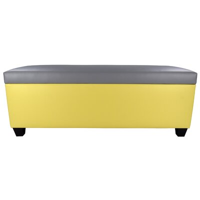 Sole Secret Retro Shoe Storage Bench Lid Upholstery Color: Light Gray, Base Upholstery Color: Yellow