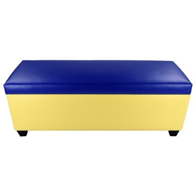 Sole Secret Retro Shoe Storage Bench Lid Upholstery Color: Blue, Base Upholstery Color: Yellow