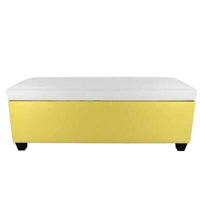 Sole Secret Retro Shoe Storage Bench Lid Upholstery Color: White, Base Upholstery Color: Yellow