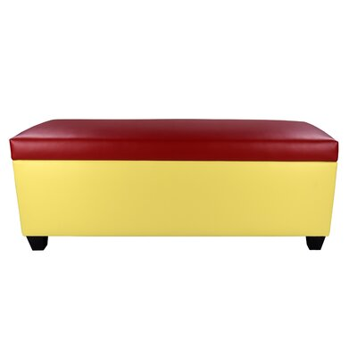 Sole Secret Retro Shoe Storage Bench Lid Upholstery Color: Red, Base Upholstery Color: Yellow