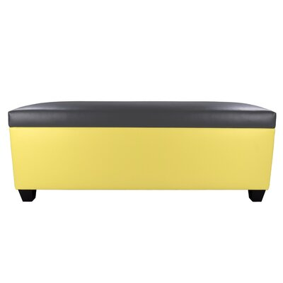 Sole Secret Retro Shoe Storage Bench Lid Upholstery Color: Dark Gray, Base Upholstery Color: Yellow