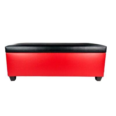 Sole Secret Retro Shoe Storage Bench Lid Upholstery Color: Black, Base Upholstery Color: Red
