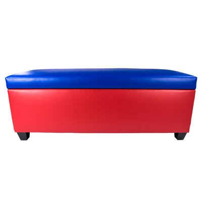 Sole Secret Retro Shoe Storage Bench Lid Upholstery Color: Blue, Base Upholstery Color: Red