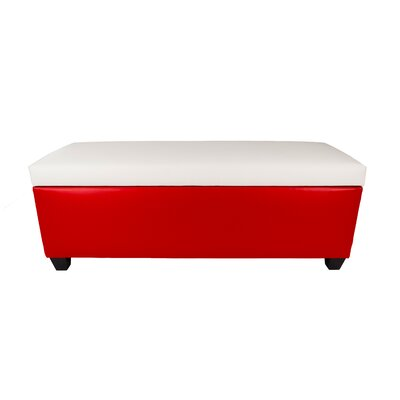 Sole Secret Retro Shoe Storage Bench Lid Upholstery Color: White, Base Upholstery Color: Red