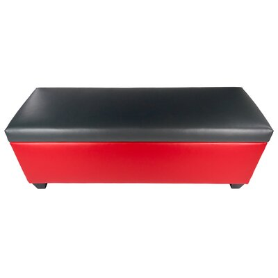 Sole Secret Retro Shoe Storage Bench Lid Upholstery Color: Dark Gray, Base Upholstery Color: Red