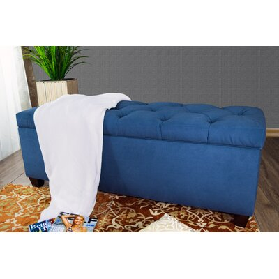 "Heaney Sole Secret Upholstered Storage Bench Upholstery Color: Navy, Size: 20"" H x 53"" W x 19"" D"