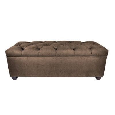 "Heaney Sole Secret Upholstered Storage Bench Upholstery Color: Brownstone, Size: 20"" H x 53"" W x 20.5"" D"