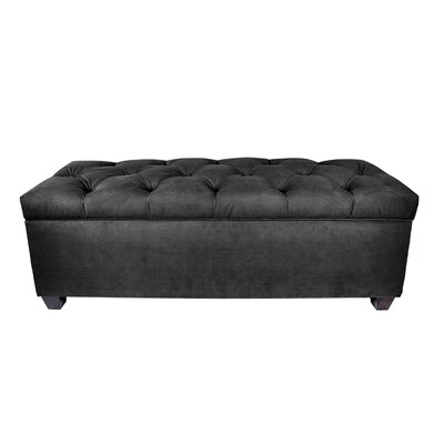 "Heaney Sole Secret Upholstered Storage Bench Upholstery Color: Charcoal, Size: 20"" H x 53"" W x 19"" D"