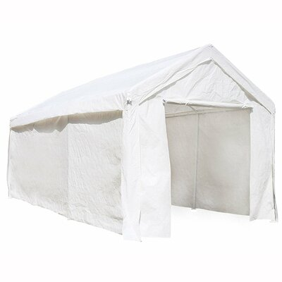 Heavy Duty Outdoor 10 Ft. W x 20 Ft. D Metal Party Tent Roof Color: White