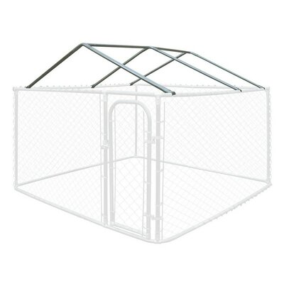 """Full Steel Chain Link Dividable Galvanized Dog Kennel Roof Frame Size: 19.6"""" H x 120"""" W x 120"""" D"""