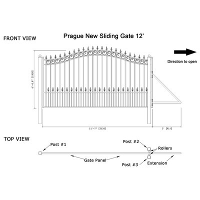 Prague Steel Single Sliding Driveway Gate Size: 72.8'' H x 139'' W