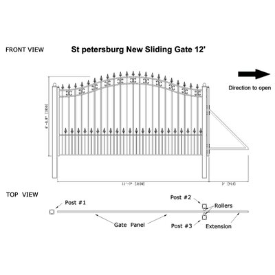 "St. Petersburg Steel Single Sliding Driveway Gate Size: 72"" H x 144"" W"