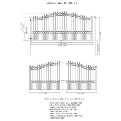 """London Single Swing Driveway Gate Size: 72.8'' H x 168.9'' W x 1.58"""" D"""
