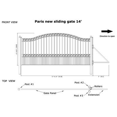 Paris Steel Single Sliding Driveway Gate Size: 72.8'' H x 162.6'' W
