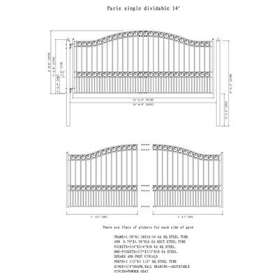 Paris Steel Single Swing Driveway Gate Size: 74.8'' H x 168.9'' W