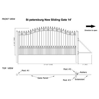"St. Petersburg Steel Single Sliding Driveway Gate Size: 72"" H x 156"" W"