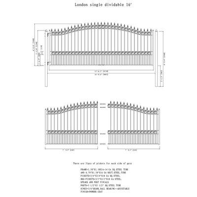 """London Single Swing Driveway Gate Size: 74.8'' H x 192.6'' W x 1.58"""" D"""