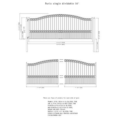 Paris Steel Single Swing Driveway Gate Size: 74.8'' H x 192.6'' W