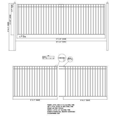 Madrid Steel Single Swing Driveway Gate Size: 72.8'' H x 216'' W