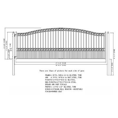 Paris Steel Single Sliding Driveway Gate Size: 72.8'' H x 209.8'' W