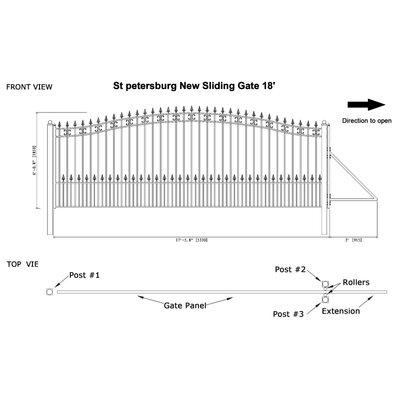 "St. Petersburg Steel Single Sliding Driveway Gate Size: 72"" H x 216"" W"
