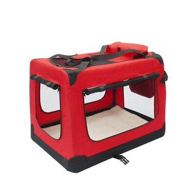 """Heavy Duty Collapsible Portable Home Spacious Traveler Pet Carrier Size: 19.5"""" H x 26"""" W x 19.5"""" D, Color: Red"""