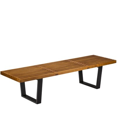 Slat Wood Bench Color: Walnut