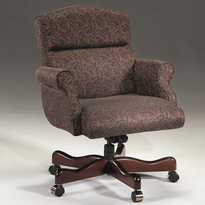 Leather Executive Chair Upholstery Color: Ultramarine, Frame Finish: Mahogany, Tilt Mechanism: Tilt Lock Included