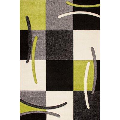 Obsession Handgearbeiteter Teppich Lifestyle in Grün/ Schwarz/ Grau