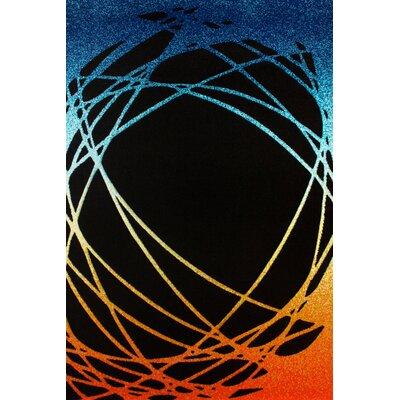 Obsession Handgearbeiteter Teppich Lifestyle in Orange/ Blau/ Schwarz