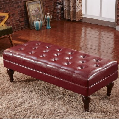 Premium Faux Leather Bench Color: Burgundy Red