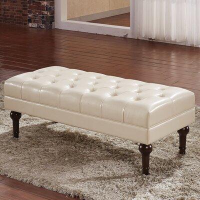 Premium Faux Leather Bench Color: Creamy White