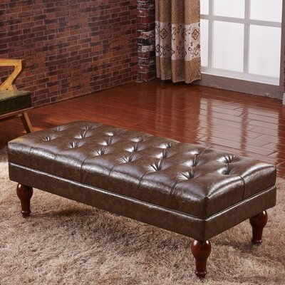 Premium Faux Leather Bench Color: Dark Brown