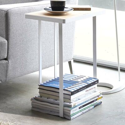 Espinal Magazine Rack and Table Color: White/Beige