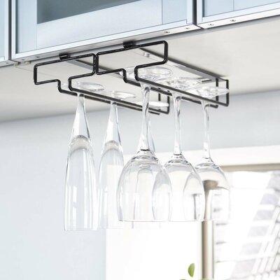 Demasi Hanging Wine Glass Rack Finish: Black