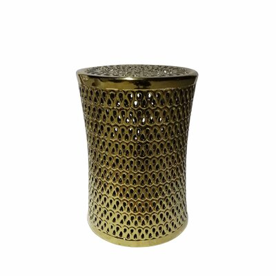 Sariyah Ceramic Pierced Garden Stool Color: Gold