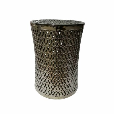 Sariyah Ceramic Pierced Garden Stool Color: Silver