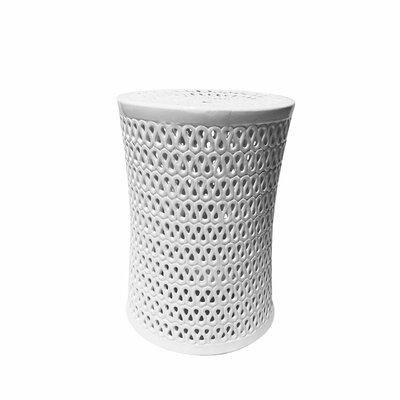 Sariyah Ceramic Pierced Garden Stool Color: White