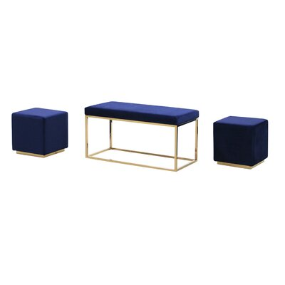 Tinley Solid Velveteen Metal Bench & Stools Upholstery: Navy
