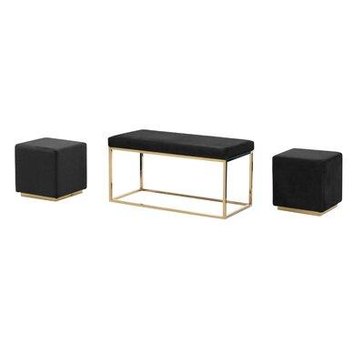 Tinley Solid Velveteen Metal Bench & Stools Upholstery: Black
