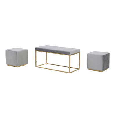 Tinley Solid Velveteen Metal Bench & Stools Upholstery: Gray