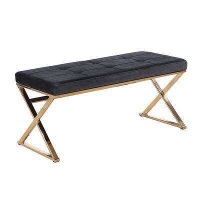 Tinley Glam Velveteen Metal Bench Color: Gold/Black