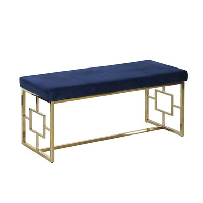 Tinley Velveteen Metal Bench Color: Gold/Navy