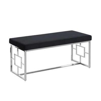 Tinley Velveteen Metal Bench Color: Silver/Black