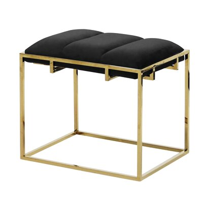 Tinley Velveteen Vanity Stool Color: Black