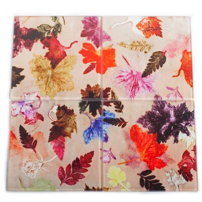 Gillian Arnold Autumn Flurry 4 Piece Glass Coaster Set