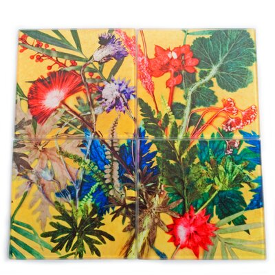 Gillian Arnold Summer Tropics 4 Piece Glass Coaster Set